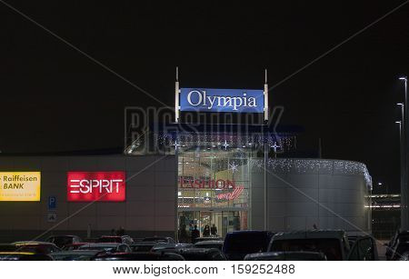 BRNO, CZECH REPUBLIC-NOVEMBER 19,2016: Shopping center Olympia decorated with lights at night on November 19, 2016 Brno Czech Republic