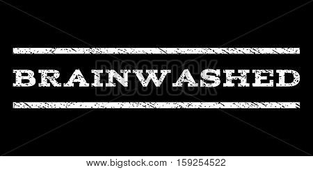 Brainwashed watermark stamp. Text caption between horizontal parallel lines with grunge design style. Rubber seal white stamp with unclean texture. Vector ink imprint on a black background.