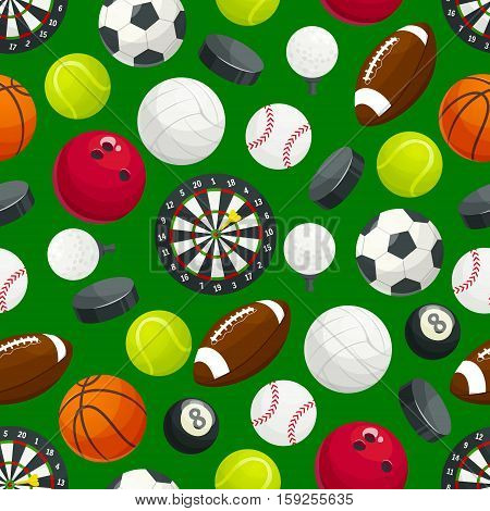 Sport ball pattern. Vector seamless background of balls for soccer football, volleyball and rugby, tennis and baseball game, basketball, golf with bowling ball and darts