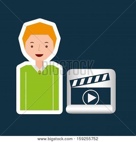 cartoon clapper movie guy design vector illustration eps 10