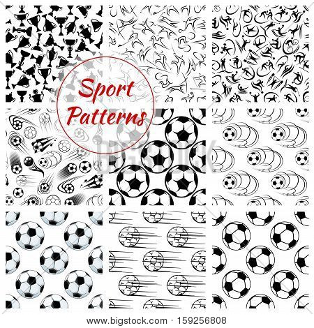 Sport patterns set. Vector seamless background of soccer, volleyball and rugby, fitness and skiing, golf and skating, cycling and weightlifting, running, polo swimming