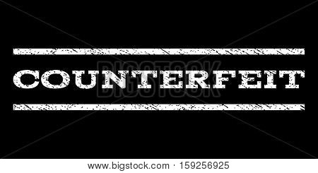 Counterfeit watermark stamp. Text tag between horizontal parallel lines with grunge design style. Rubber seal white stamp with dust texture. Vector ink imprint on a black background.