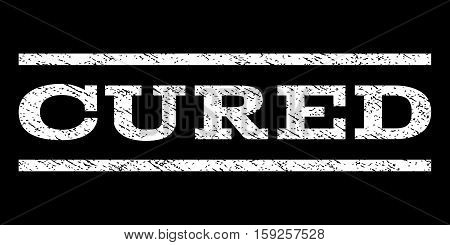 Cured watermark stamp. Text tag between horizontal parallel lines with grunge design style. Rubber seal white stamp with dust texture. Vector ink imprint on a black background.
