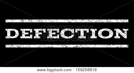Defection watermark stamp. Text tag between horizontal parallel lines with grunge design style. Rubber seal white stamp with unclean texture. Vector ink imprint on a black background.