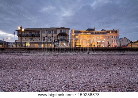 SIDMOUTH UK - October 20 2016: Hotels on the coast in the town of Sidmouth. England. Devon