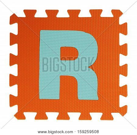 R Text Jigsaw On White Background , Interlocking Eva Foam, Clipping Path