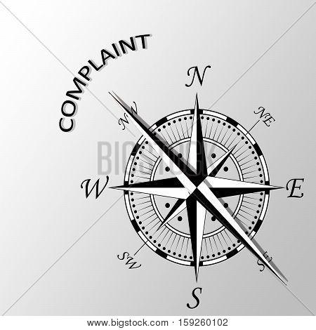 Illustration of complaint word written aside compass