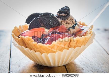 Ice Cream Served In Waffle Bowl