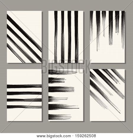 Grunge stripe backgrounds set. Abstract monochrome decoration. Art ink line decor. Brush stroke black element. Vector illustration.