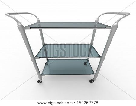 3d illustration of food service trolley. white background isolated. icon for game web.