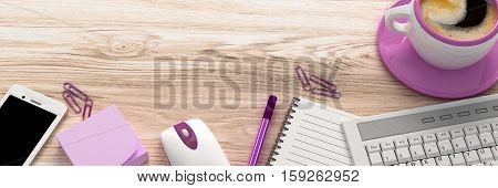 Wooden table with office supplies, top view