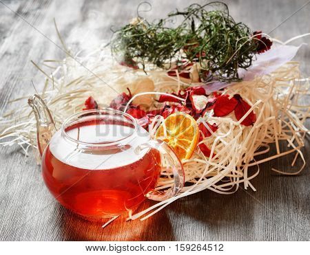 Glass Teapot Of Herbal Tea