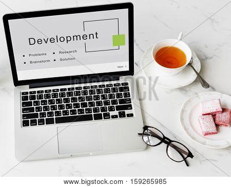 Development Business Startup Strategy Goals Concept