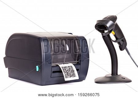 Label Printer and Wireless Barcode Scanners isolated on white background. Dummy barcode contains text