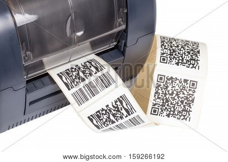 Barcode label printer. Studio shot. Dummy barcode contains text