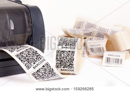 Barcode label printer. Dummy barcode contains text