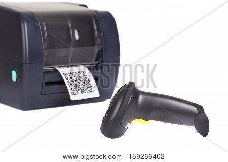 Label Printer and Wireless Barcode Scanners isolated on white background. Studio short. Barcode for use - no copyright issues as constructed.