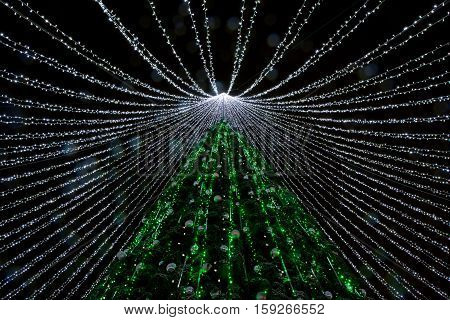 VILNIUS, LITHUANIA dec 1: Night view of christmas tree in Vilnius on dec 1, 2016 in Vilnius,Lithuania.In 1994 Vilnius Old Town was included in the UNESCO World Heritage List. Christmas in Lithuania