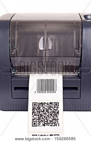 Barcode label printer. Close-up? isolated on white.