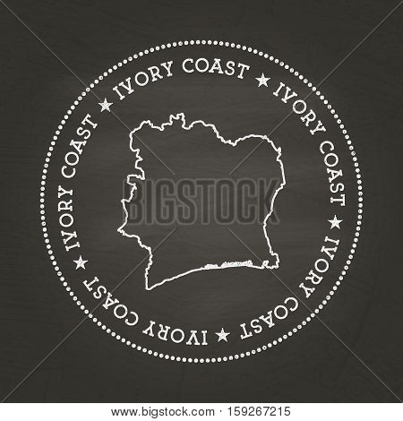 White Chalk Texture Vintage Seal With Republic Of Ivory Coast Map On A School Blackboard. Grunge Rub