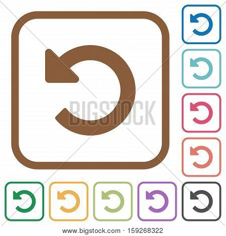 Undo changes simple icons in color rounded square frames on white background