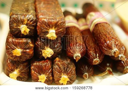 Sausages, cold cuts of meat, meat products, smoked sausage, boiled sausage