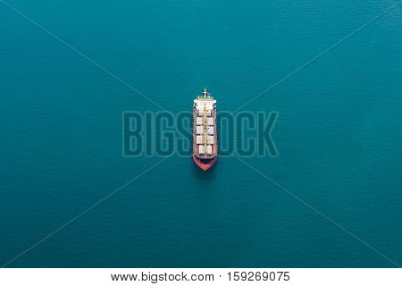 Aerial view of a Cargo vessel on Ocean