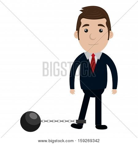 businessman character with icon slave fetter vector illustration design