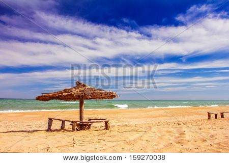 Beach, Wood, Umbrella, Background, Sky, Sea, Relax, Travel, Umbrellas, Summer, Water, Blue, Sand, Su