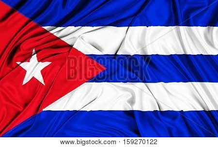 Waving Fabric Texture Of The Flag Of Cuba, Color Red Blue And White Of Cuban Flag