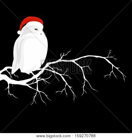 white owl wearing red christmas hat sitting on branch - winter season wildlife vector design