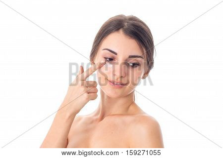 cutie Young girl takes care her skin isolated on white background. Health care concept. Body care concept. Young woman with healthy skin.