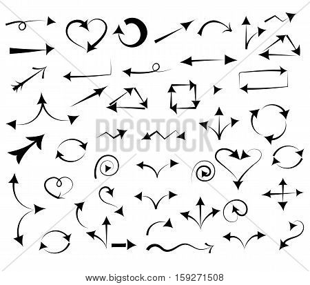 Hand Drawn Arrows isolated on White.Sketch Style. Prefect for Design. Vector Illustration.