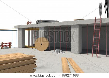3d rendering of building under construction on the white background. Modern housebuilding. Construction technology. Civil engineering work.