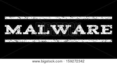 Malware watermark stamp. Text caption between horizontal parallel lines with grunge design style. Rubber seal white stamp with dust texture. Vector ink imprint on a black background.