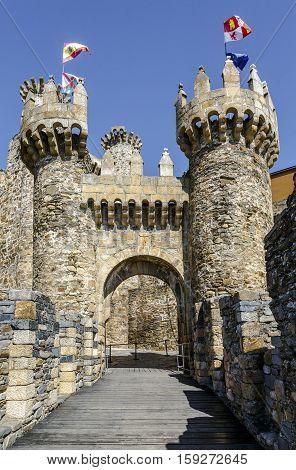 Home or main entrance of Templar castle in Ponferrada the Bierzo Spain.