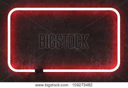 Neon rectangle frame on dark red concrete background. 3D rendering