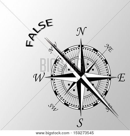 Illustration of False word written aside compass