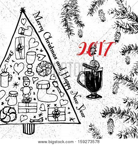 Christmas card with fir tree, hot wine and holly branch frame. Merry Cristmas and Happy New Year 2017