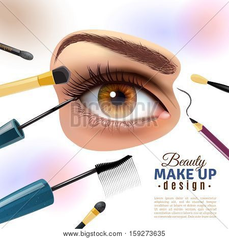 Applying eye makeup beauty tips pictorial infographic poster with putting eyelid base and eyeliner blurred background vector illustration