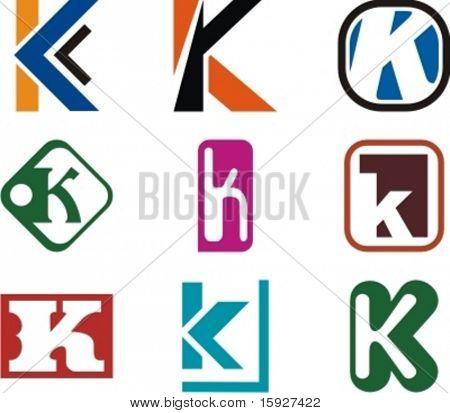 Abecední Logo Design koncepty. Dopis K. zkontrolovat své portfolio z této série.