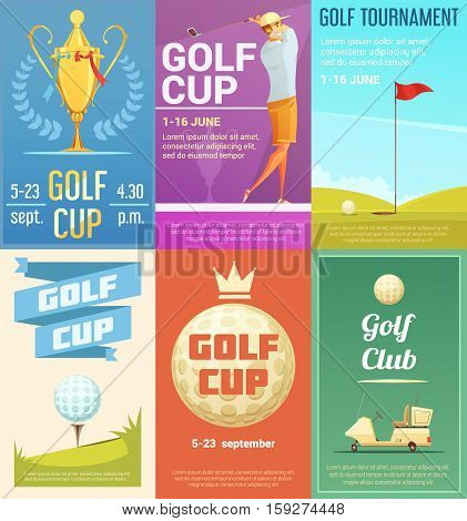 Golf club advertisement retro style posters collection with gold cup tournament winner trophy cartoon isolated vector illustration