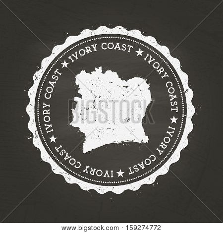 White Chalk Texture Rubber Stamp With Republic Of Ivory Coast Map On A School Blackboard. Grunge Rub