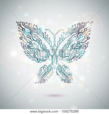 Vector creative thinking concept. Circuit board butterfly. Electronics engineering design. eps10
