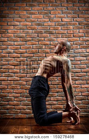 An experienced yoga instructor showing different yoga poses. Brick wall background. Healthy lifestyle. Meditation, concentration.