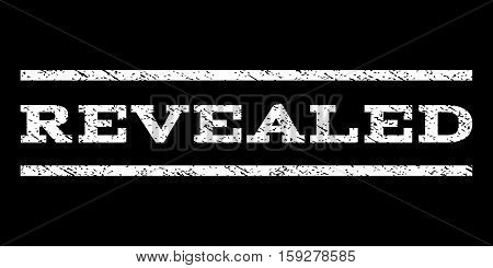 Revealed watermark stamp. Text caption between horizontal parallel lines with grunge design style. Rubber seal white stamp with unclean texture. Vector ink imprint on a black background.