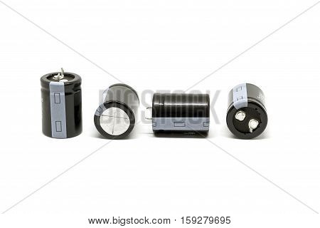 Group of capacitors isolated on white background.