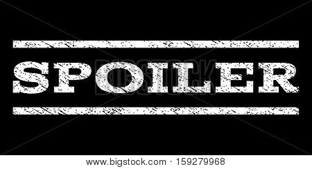 Spoiler watermark stamp. Text caption between horizontal parallel lines with grunge design style. Rubber seal white stamp with scratched texture. Vector ink imprint on a black background.