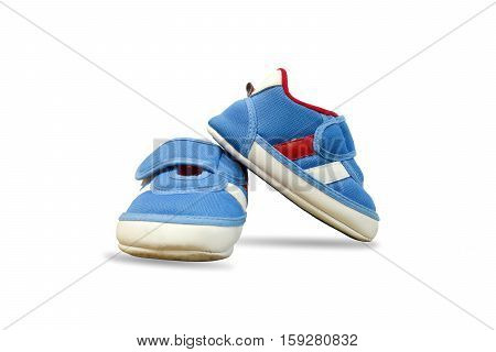 Closeup beautiful design of baby shoes isolated on white background.