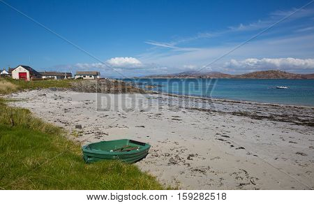 Rowing boat Iona beach Scotland uk Inner Hebrides Scottish island off the Isle of Mull west coast of Scotland